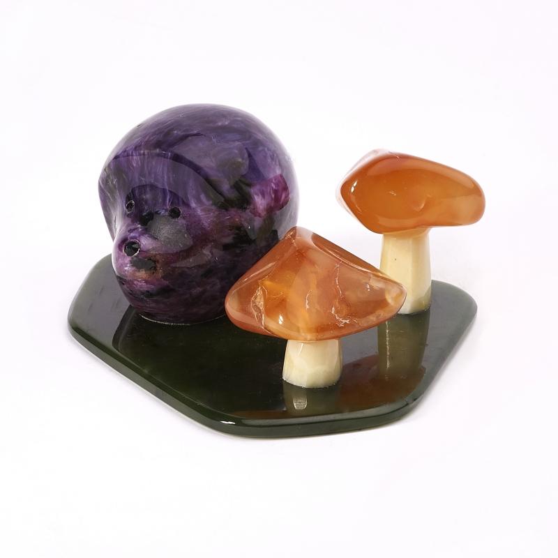 Ежик чароит, сердолик, нефрит, офиокальцит 3,5х8,5 см
