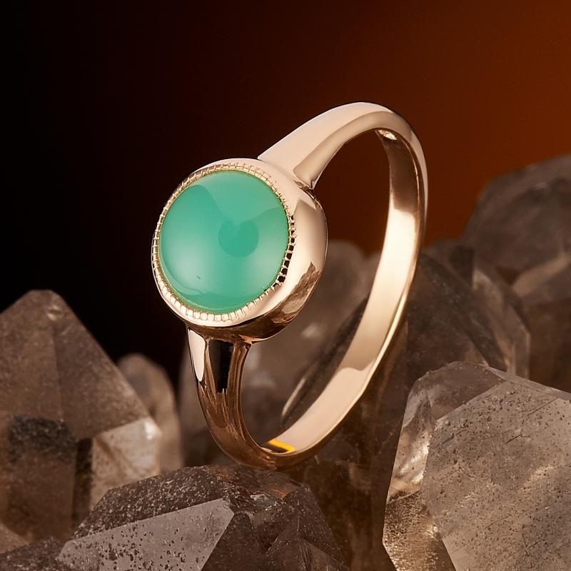 Кольцо хризопраз  (золото 585 пр.) размер 17,5