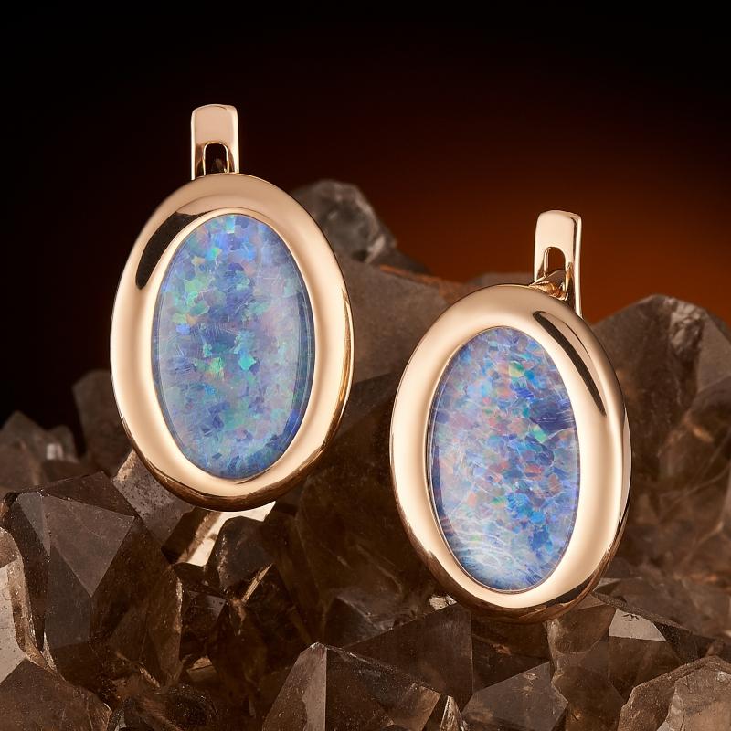 Серьги опал благородный голубой (триплет)  (золото 585 пр.)
