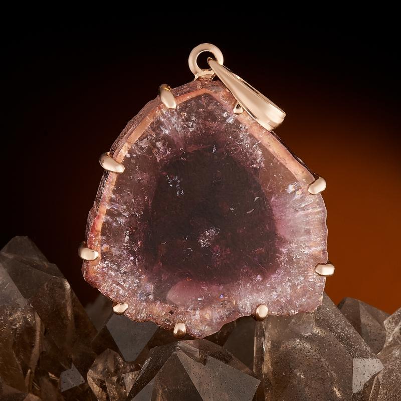 Кулон турмалин розовый (рубеллит)  срез (золото 585 пр.) кабошон турмалин розовый рубеллит 5 7 мм