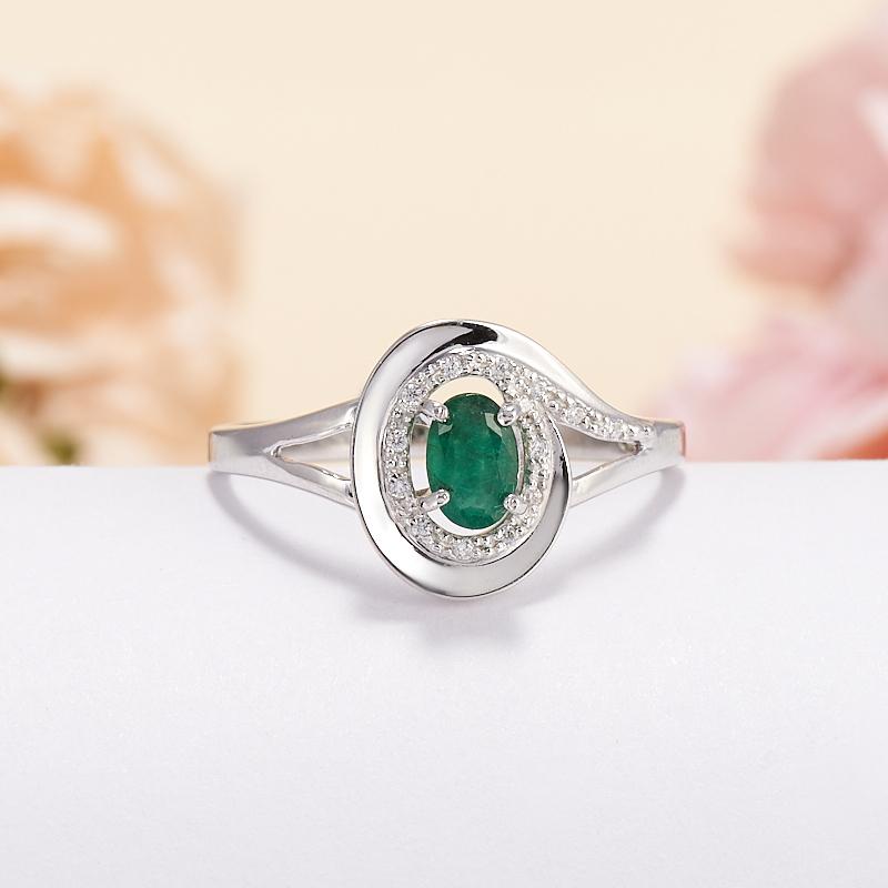 Кольцо изумруд  огранка (серебро 925 пр.) размер 18,5 кольцо авантюрин зеленый серебро 925 пр размер 18