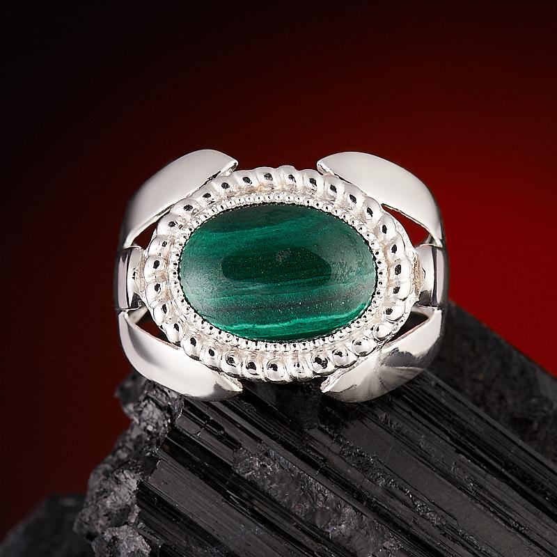 Кольцо малахит  (серебро 925 пр.) размер 20,5 кабошон малахит 8 15 мм