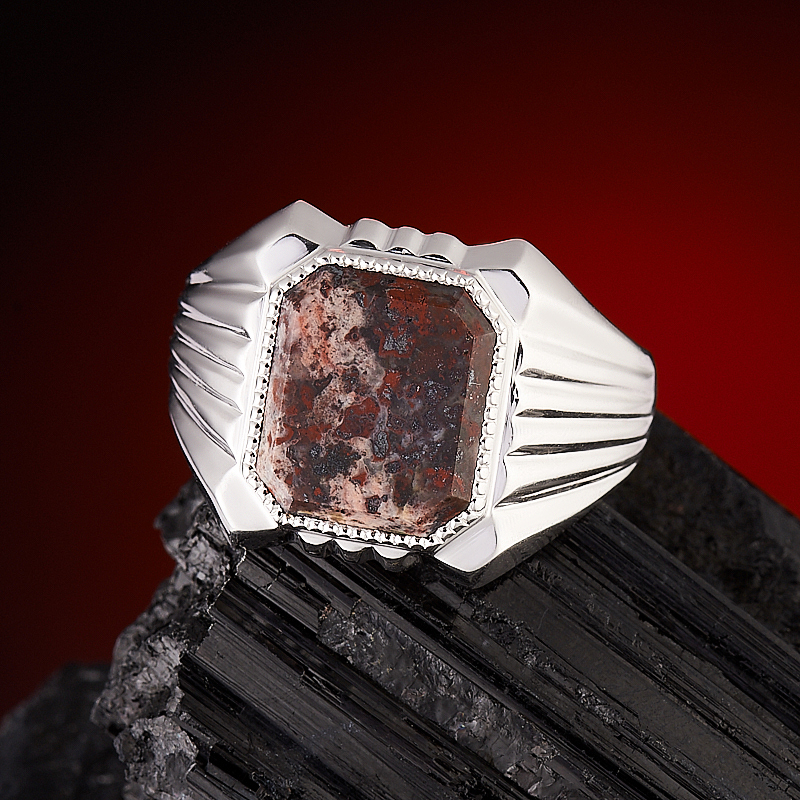 Кольцо яшма брекчиевая  (серебро 925 пр.) размер 21