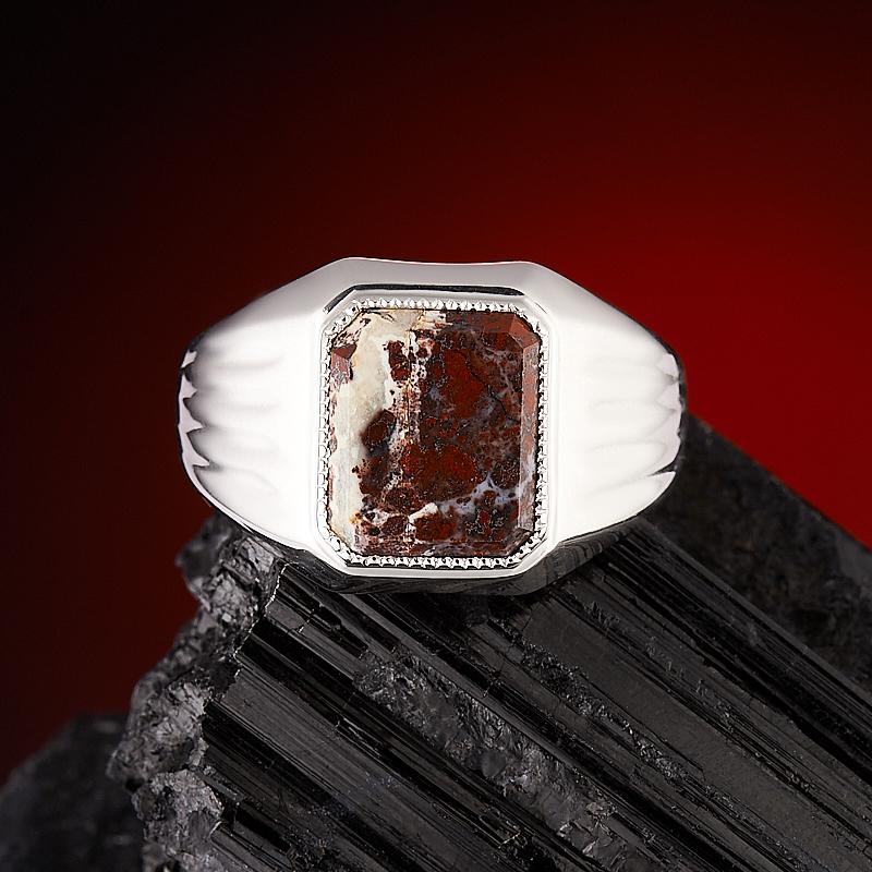 Кольцо яшма красная огранка (серебро 925 пр.) размер 21