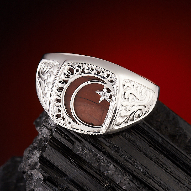 Кольцо яшма брекчиевая  огранка (серебро 925 пр.) размер 23