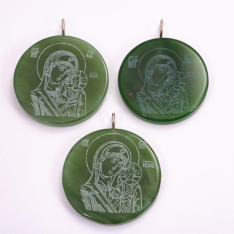Кулон Божья Матерь Казанская нефрит зеленый круг 4 см