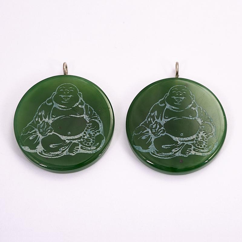 Кулон Хотей нефрит зеленый круг 4 см