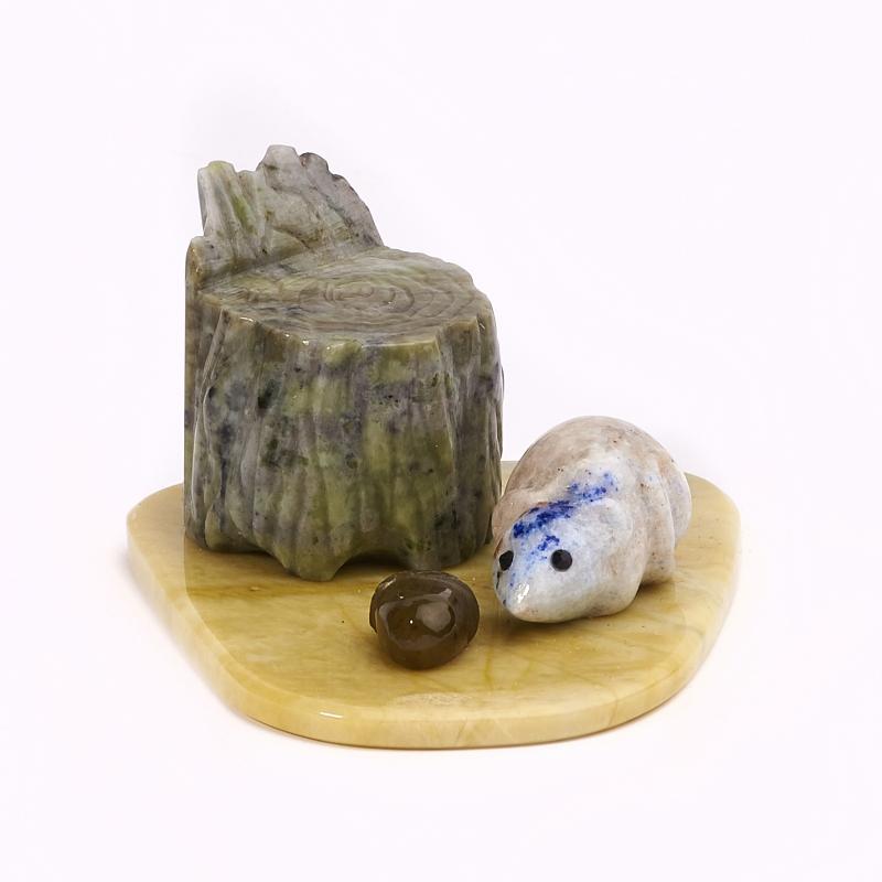 Мышка лазурит, офиокальцит, нефрит  4,5х8 см