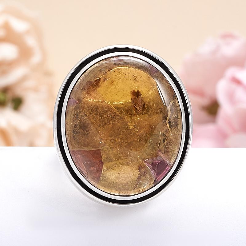Кольцо турмалин желтый (дравит)  (серебро 925 пр.) размер 18