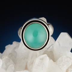 Кольцо хризопраз Казахстан (серебро 925 пр.) размер 17,5