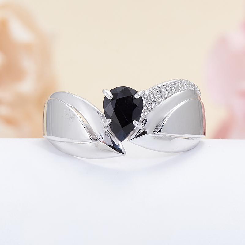 Кольцо сапфир черный  огранка (серебро 925 пр.) размер 18,5