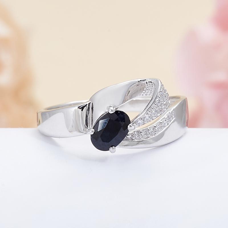 Кольцо сапфир синий  огранка (серебро 925 пр.) размер 18