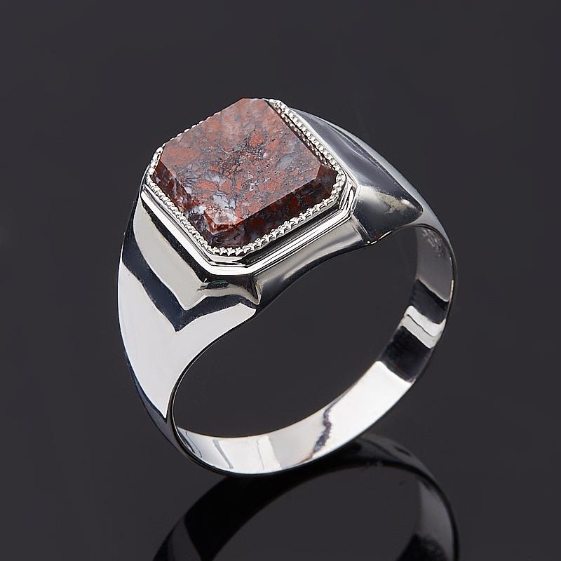 Кольцо яшма красная огранка (серебро 925 пр.) размер 22
