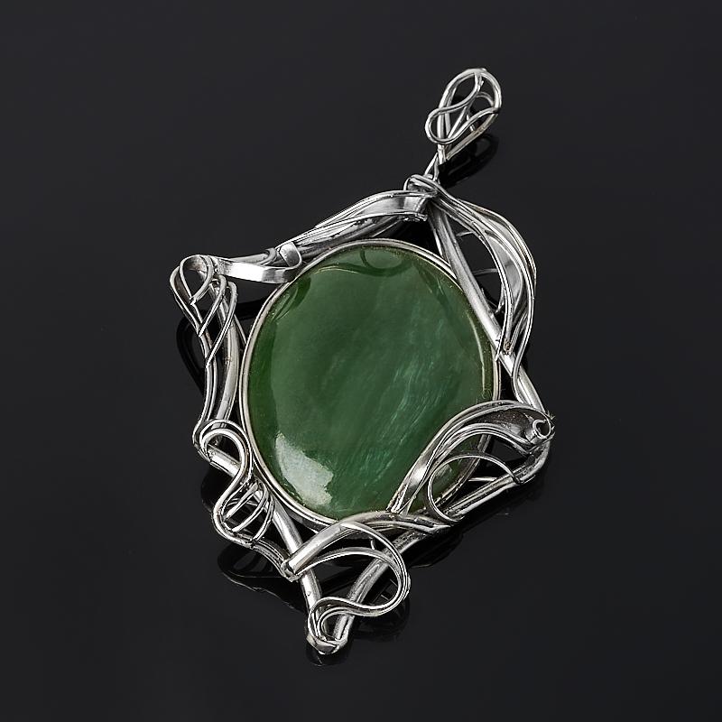 Кулон нефрит зеленый (нейзильбер)