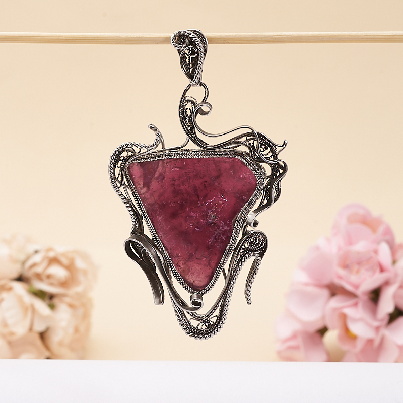 Кулон турмалин розовый (рубеллит)  (нейзильбер)