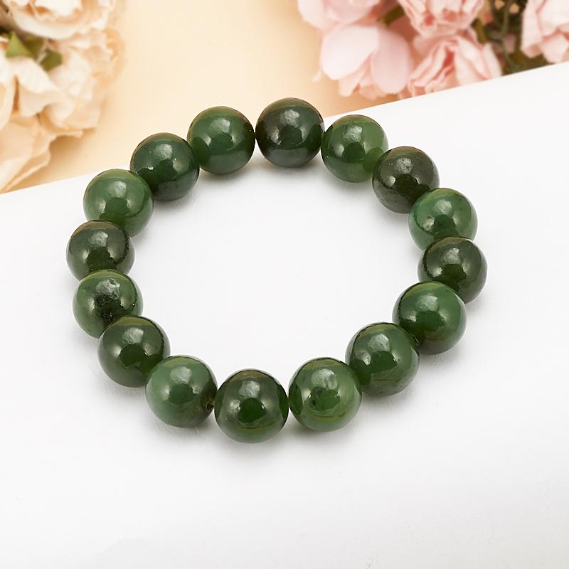 Браслет нефрит зеленый 11 мм 15 см браслет нефрит зеленый с эффектом кошачьего глаза 11 мм 15 см
