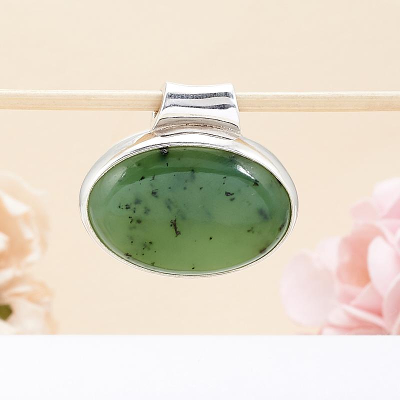 Кулон нефрит зеленый  овал (серебро 925 пр.)