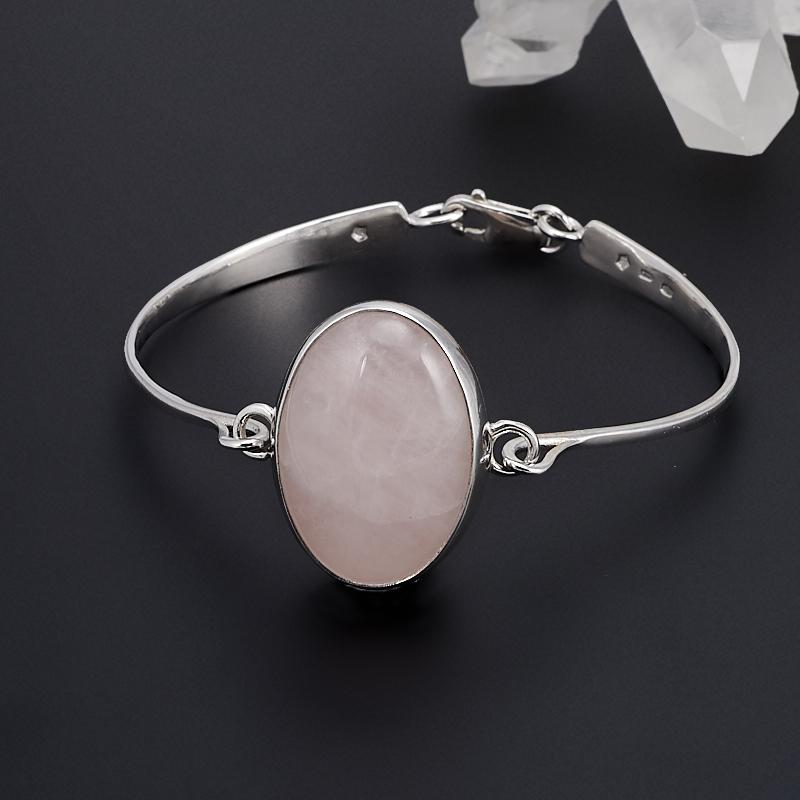 Браслет розовый кварц  17 см (серебро 925 пр.)