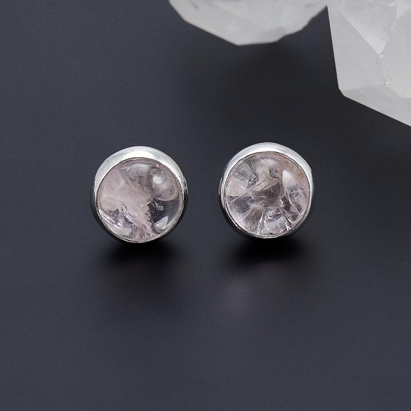 Серьги розовый кварц  пуссеты (серебро 925 пр.)