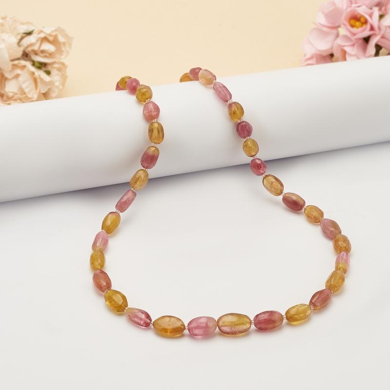 Бусы турмалин дравит (желтый), рубеллит (розовый)  48 см бусы olere бусы