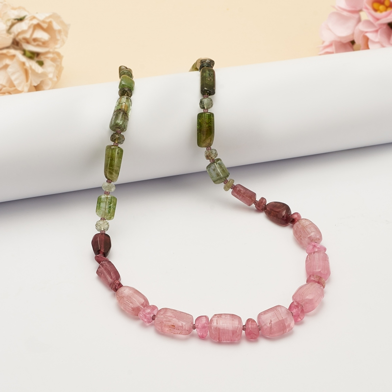 Бусы турмалин верделит (зеленый), рубеллит (розовый)  48 см