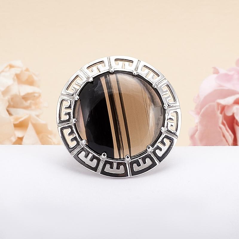Кольцо обсидиан черный  (серебро 925 пр.) размер 18,5 кабошон обсидиан снежный 18 25 мм