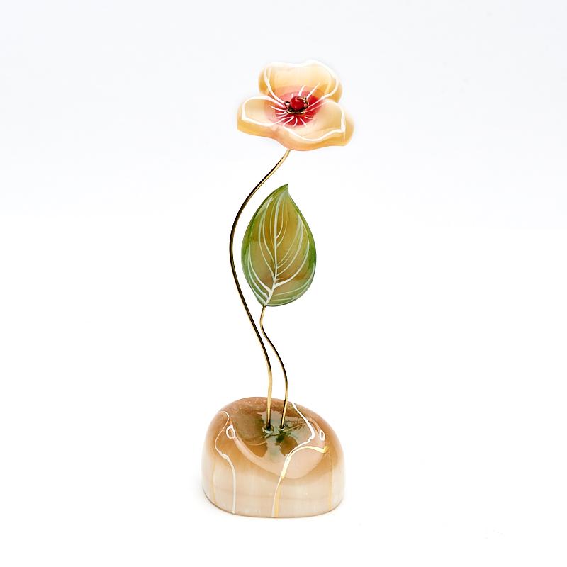 лучшая цена Цветок на подставке селенит 18 см