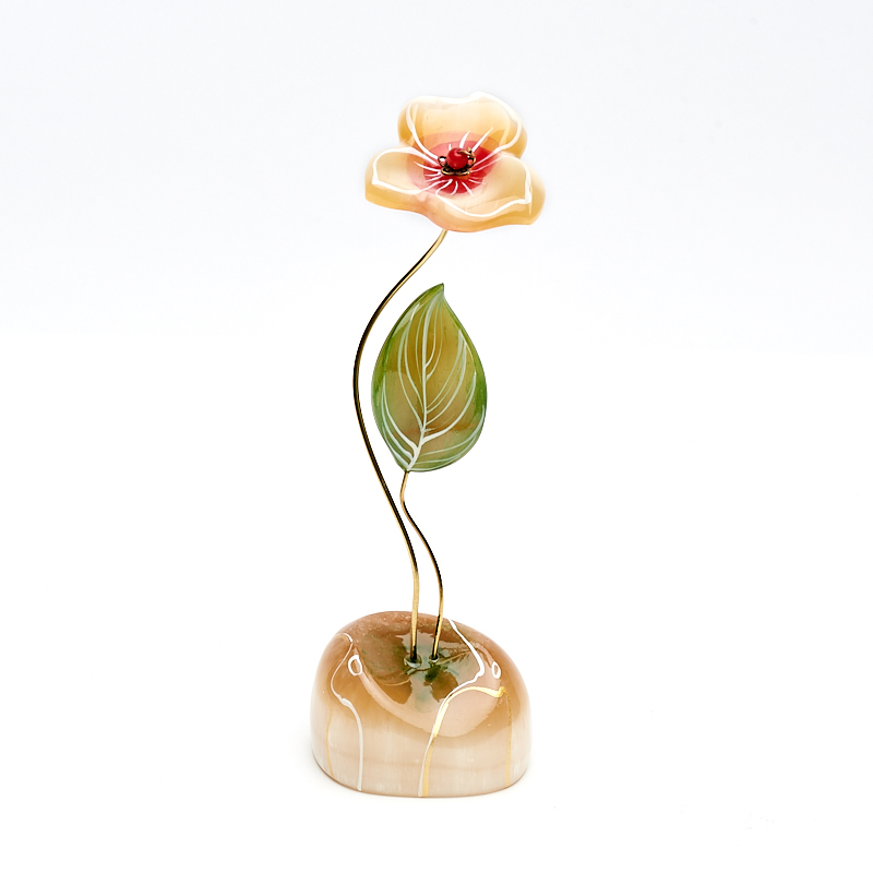 Цветок на подставке селенит 18 см