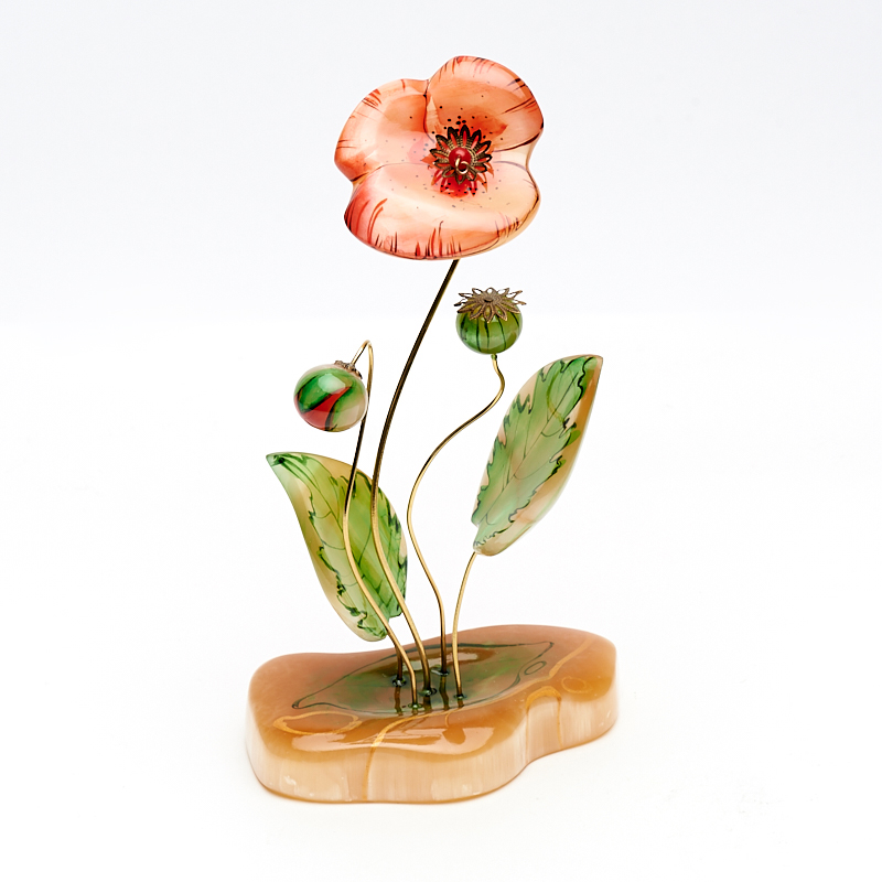 Цветок на подставке селенит 20 см дизайнерская ваза на подставке 20 10 40 см glory design