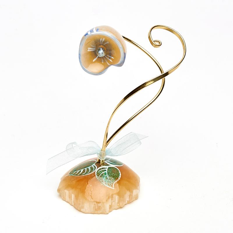 лучшая цена Цветок на подставке селенит 9 см