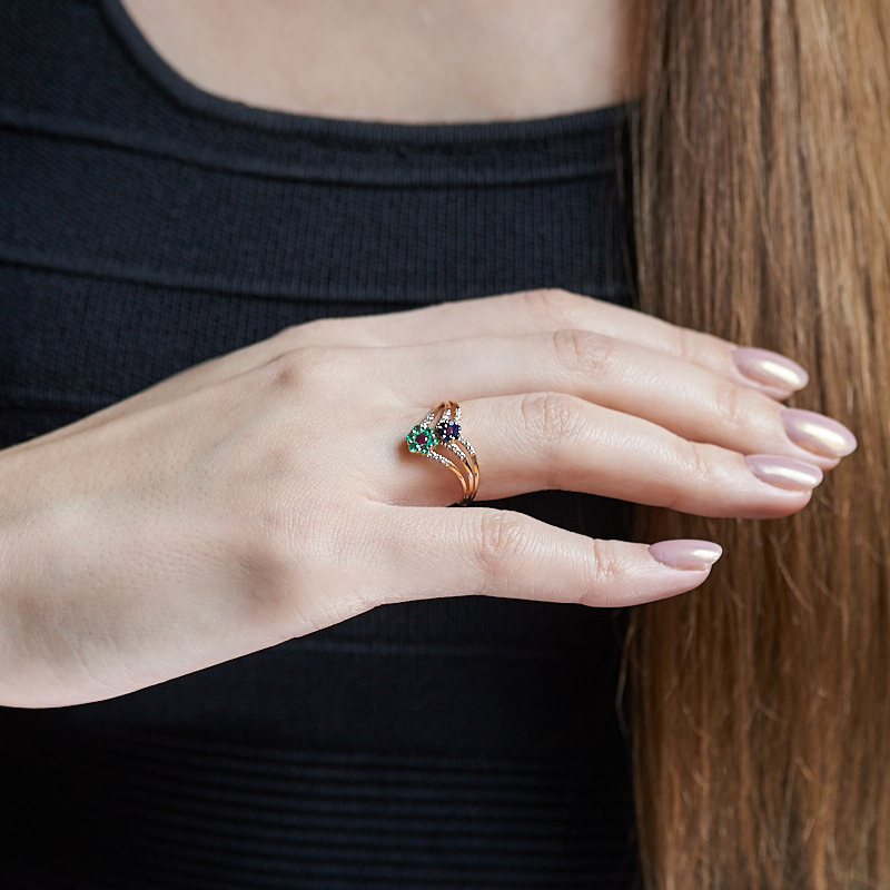 Кольцо микс изумруд, рубин, сапфир огранка (золото 585 пр.) размер 17,5
