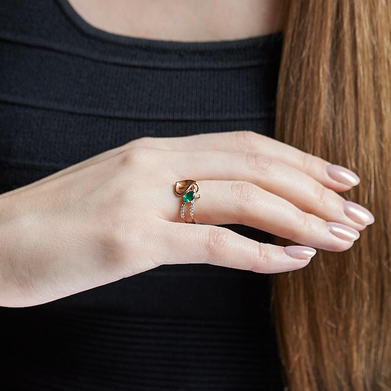 Кольцо изумруд Колумбия огранка (золото 585 пр.) размер 17,5