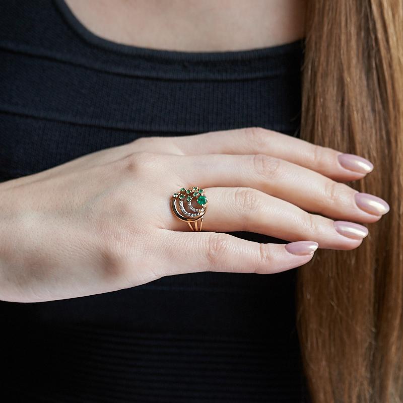 Кольцо изумруд Колумбия огранка (золото 585 пр.) размер 20