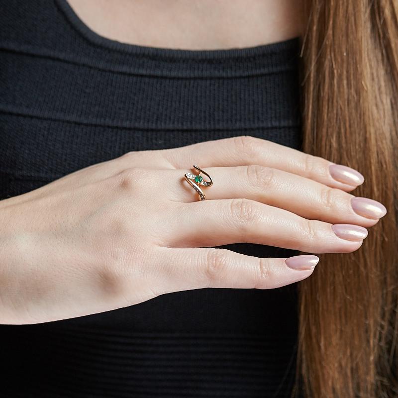 Кольцо изумруд Колумбия огранка (золото 585 пр.) размер 21