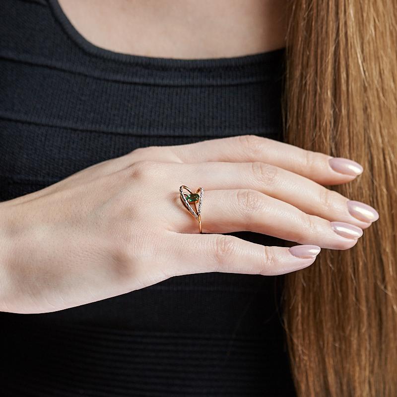 Кольцо изумруд Колумбия огранка (золото 585 пр.) размер 19,5