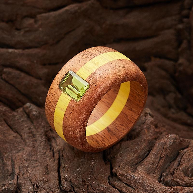 Кольцо хризолит  огранка (дерево) размер 17