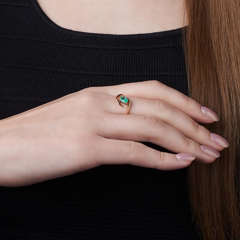 Кольцо изумруд Колумбия огранка (золото 585 пр.) размер 21,5