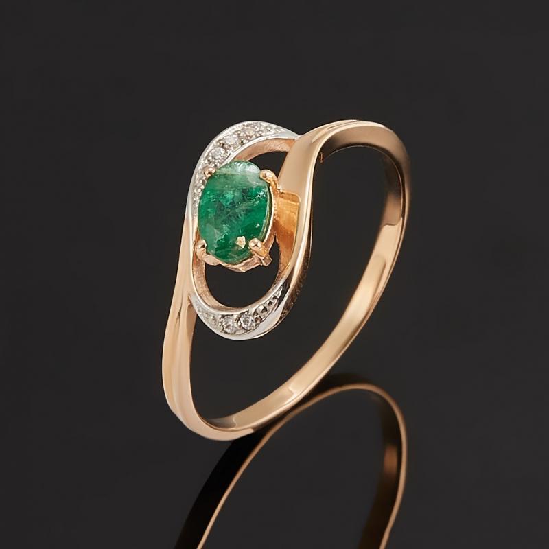 Кольцо изумруд Колумбия огранка (золото 585 пр.) размер 18