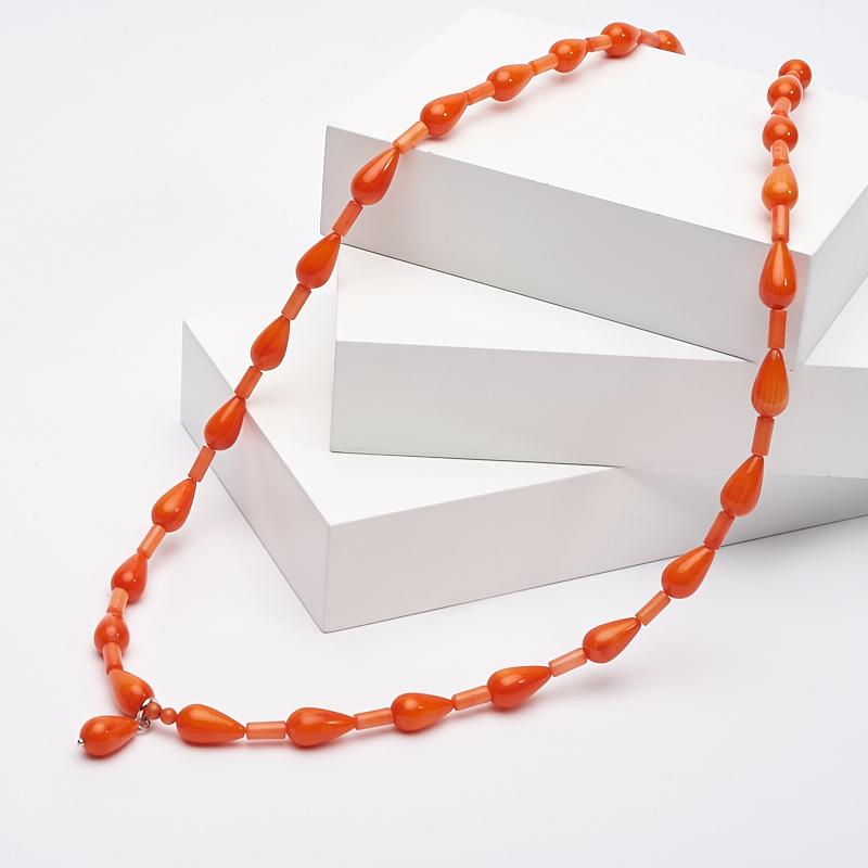 Бусы длинные коралл оранжевый  60 см