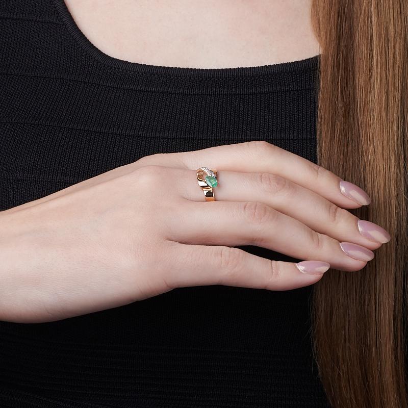 Кольцо изумруд Колумбия огранка (золото 585 пр.) размер 18,5