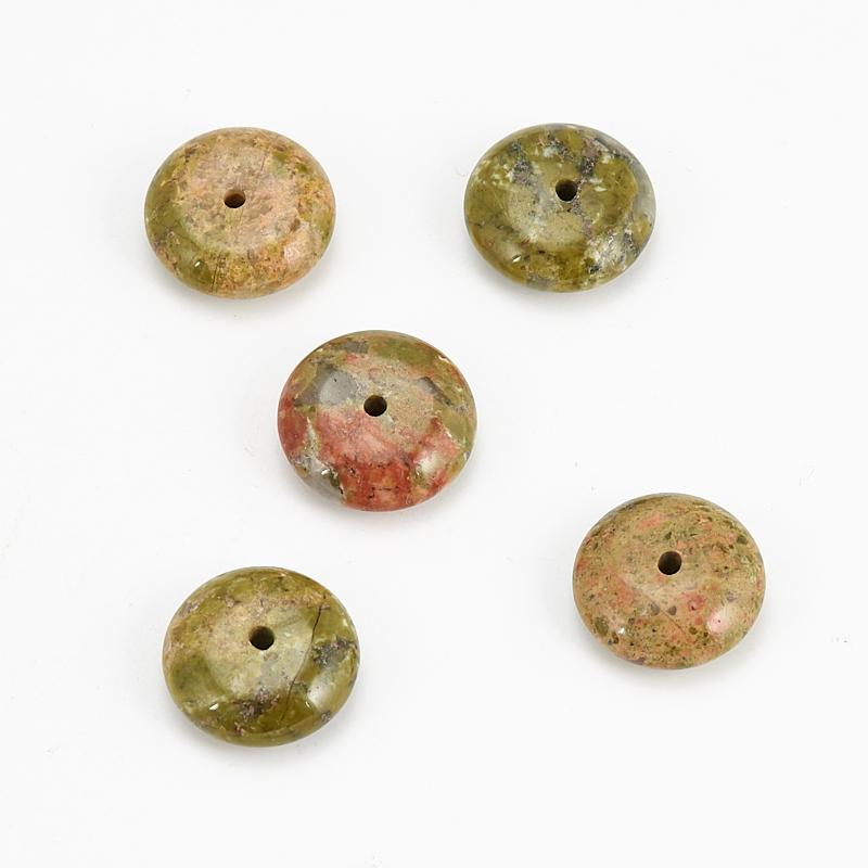 Бусина унакит  сплюснутый шар 12-12,5 мм (1 шт) бусина коралл оранжевый сплюснутый шар 6 мм 1 шт