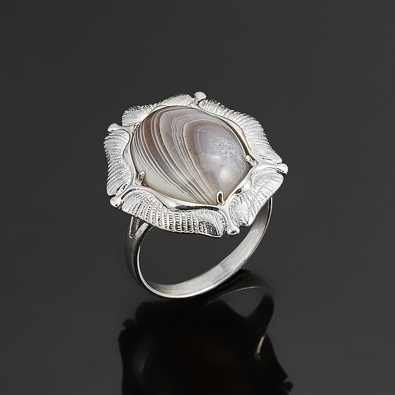 Кольцо агат серый  (серебро 925 пр.) размер 17,5