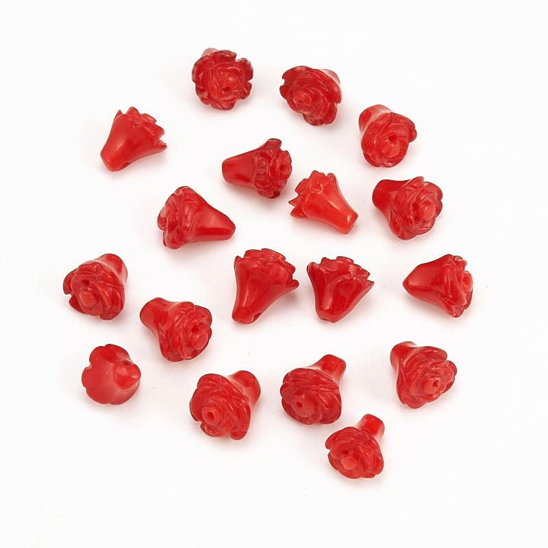 Бусина коралл красный  цветочек 6*7 мм (1 шт) бусина унакит шарик 6 5 мм 1 шт