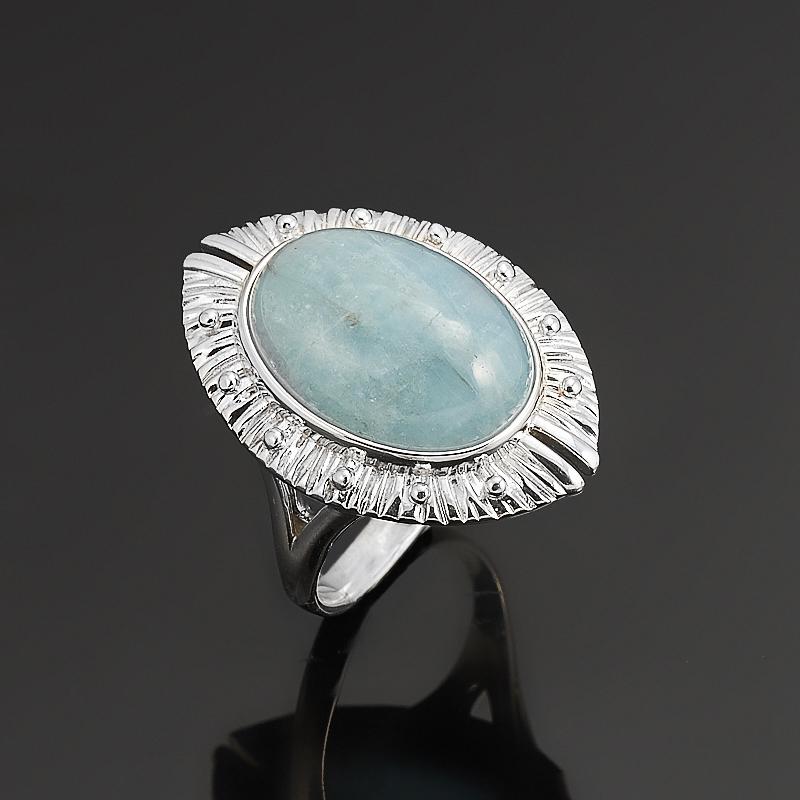 Кольцо аквамарин  (серебро 925 пр.)  размер 18