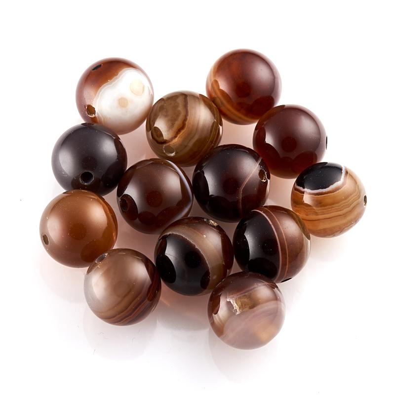 Бусина агат коричневый шарик 11,5-12 мм (1 шт) бусина агат серый шарик 6 5 мм 1 шт