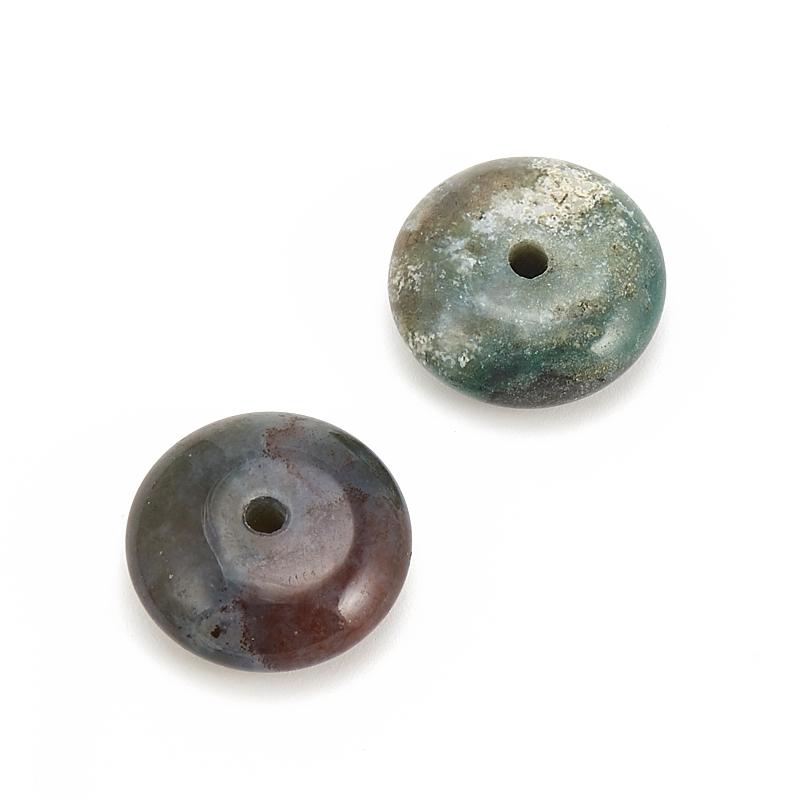 Бусина агат моховой  сплюснутый шар 12-12,5 мм (1 шт)