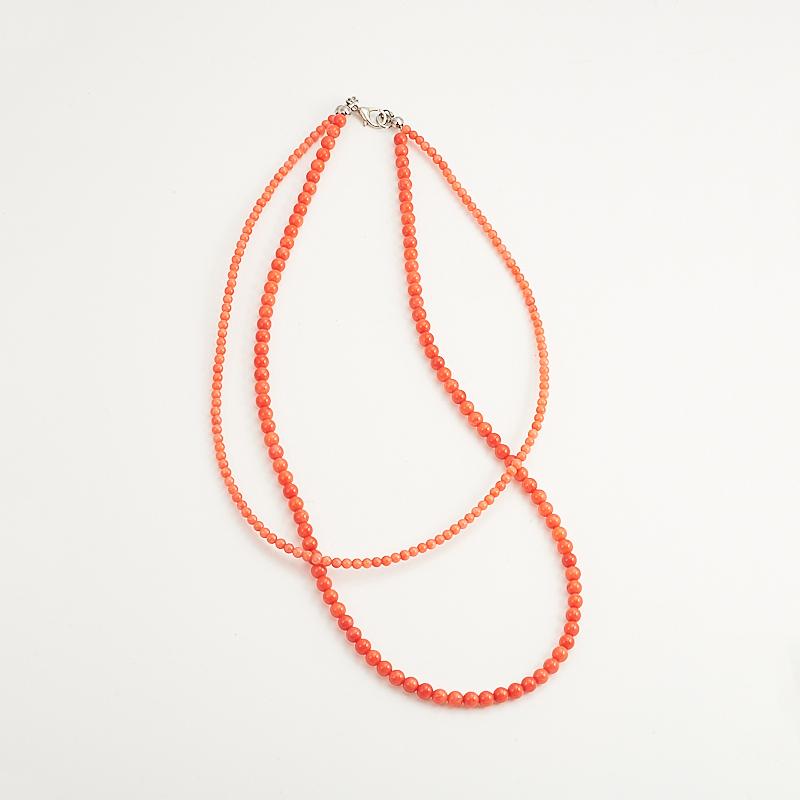 Бусы коралл оранжевый 41 см бусики колечки авторские бусы кахолонг прес коралл хрусталь лима арт ант 4194