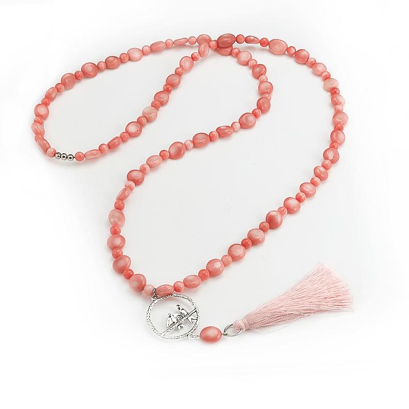 Бусы коралл розовый (сотуар) длинные 88 см