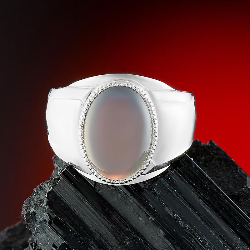 Кольцо агат серый  (серебро 925 пр.) размер 22