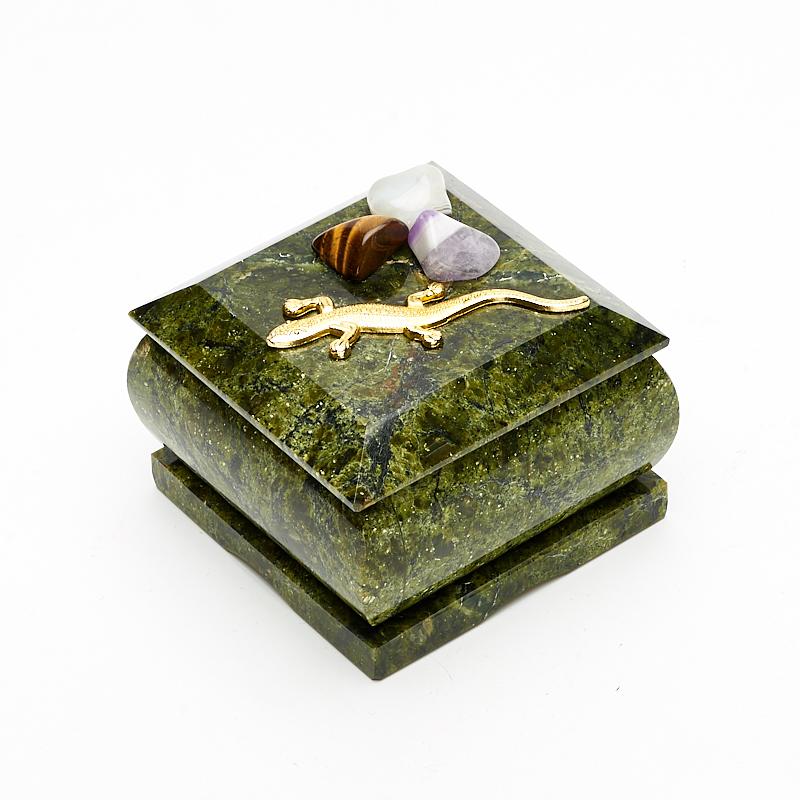 Шкатулка змеевик  6х6х5 см